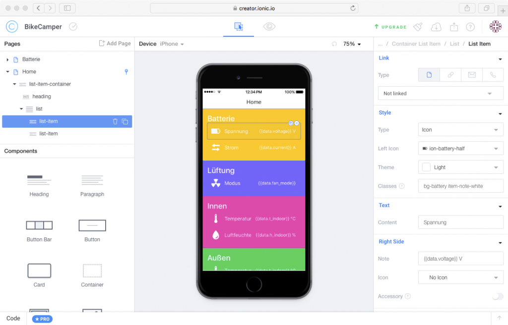Ionic Creator: Mit dieser Applikation, die im Browser läuft, kann man auf einfache Weise eine GUI für mobile Apps erstellen.